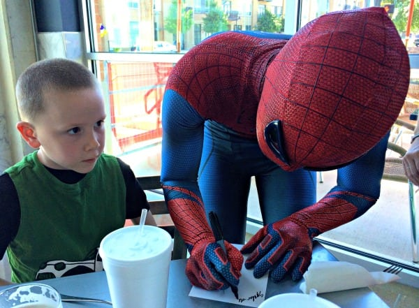 Spiderman greets guests at So Bro Pizza Co in San Antonio