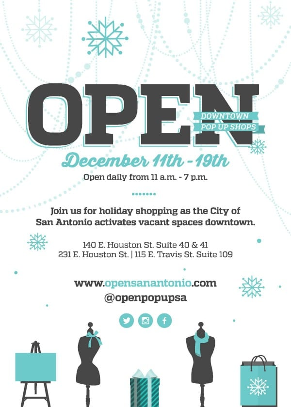 OPEN holiday pop up shops! Shop local in downtown San Antonio from Dec. 11 - 19, 2015